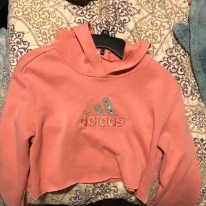 Pink adidas cropped hoodie